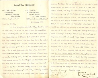 Letter from Dan Crawford to Elizabeth Trewin dated 20 Jan 1920