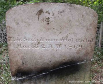 Back of Hannah's stone