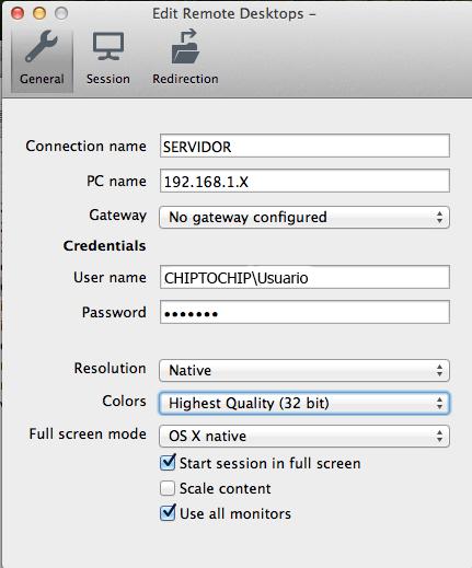 Configuración escritorio remoto de Windows