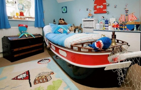 high seas and pirate theme boys bedroom red and blue 700x446 1 Stylish and Functional Kid's Bedroom