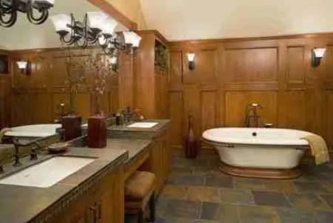 WoodPaneledBathroomwithSlateFloor 5a171c929802070036d89b54 Bathroom Flooring Options