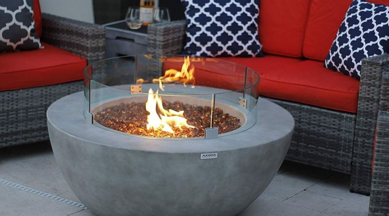 Modern Concrete Fire Pit Table Bowl with glass Concrete Fire Pit