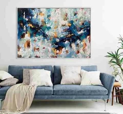 LargeAbstractPaintingAboveSofaInLivingRoomcopy 1800x1800 e9b34871 d46f 4a99 b9e8 Artwork Decor Ideas