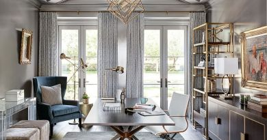 Gray home office with golden glint all around Interior Design Secrets