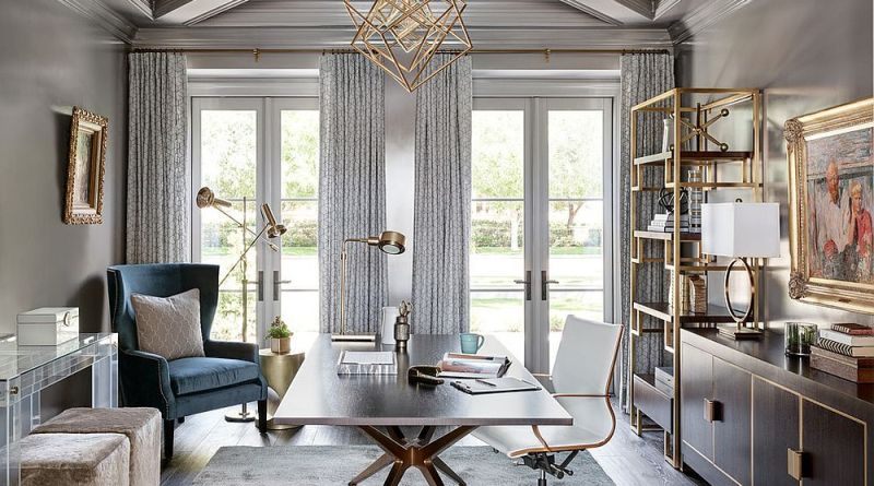 Gray home office with golden glint all around Home Office Decor Ideas