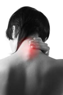 A person suffering from neck pain