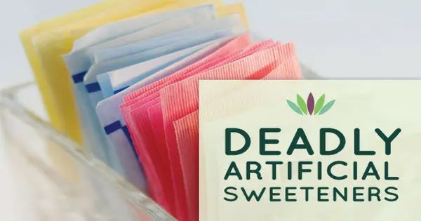 blog picture of various artificial sweeteners that says deadly artificial sweeteners