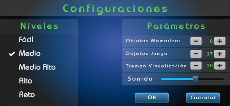 Memory Card, configuración