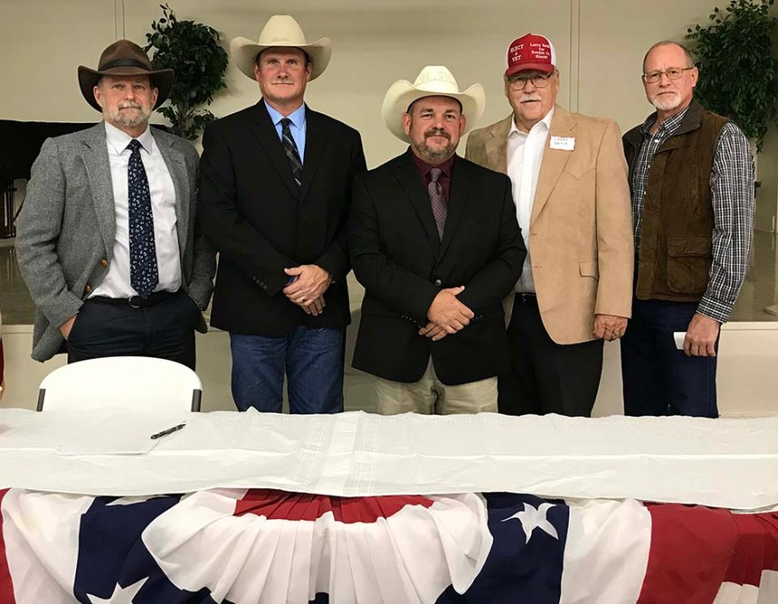 Moderators Brett Voss (far left) and Paul Hardcastle (far right) with Republican candidates Clint Pullin (left), Trace Handricks (center), Larry Betik (right) following the Bosque County Republican Party's forum in November at the Clifton Civic Center.