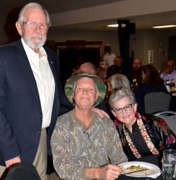Bosque County Judge Don Pool, Ken Cornett and Stef Cobb enjoy the evening's entertainment.