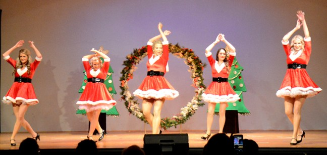 "Belles of Christmas were part of Winter skit with Kaci Murdoch, Marisa Chovanec, Ashley Holleman, Megan Muller and Shelby McCallum dancing to the seductive ""Santa Baby."""