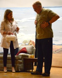 Connie Terry and Bob Fuller rehearse for Tin Building Theatre's 2020 production is the full-length play Bad Medicine by Michael Tennant.