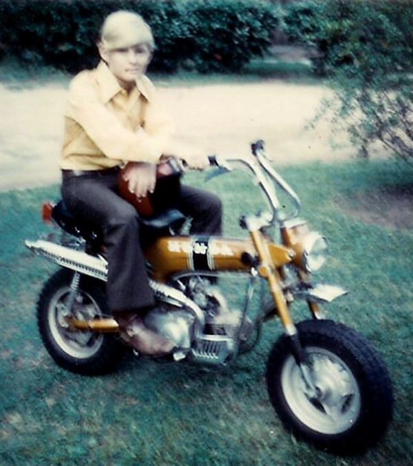 Brett Voss proudly displays his first motorcycle, a 1970 Honda CT-70 Trail bike.