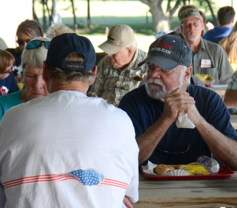 Jan and Dan Ahart enjoy the hotdog dinner at the Bosque County Republican Club Party in the Park event June 16.