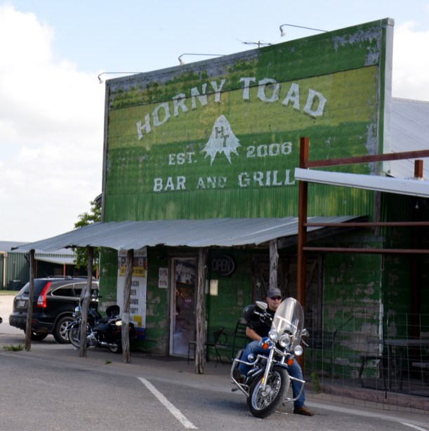 The Horny Toad Bar and Grill in Cranfills Gap stands out as a popular spot for motorcyclists.