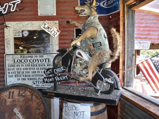 The Loco Coyote south of Glen Rose represents a popular stop for motorcyclists.
