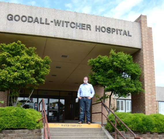 President & CEO Adam Willmann stands ready in front of Goodall-Witcher Hospital duing COVID-19 shutdown.
