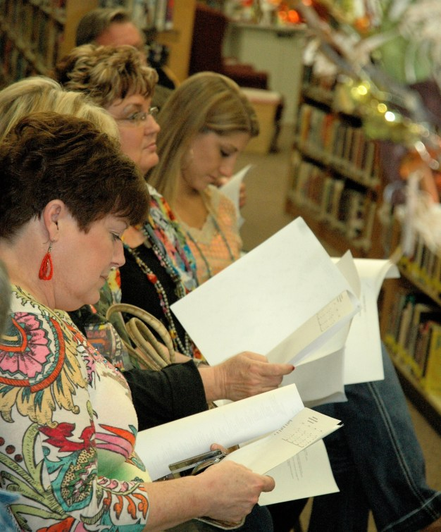 Library patrons and supporters attend the Meridian Public Library annual meeting.