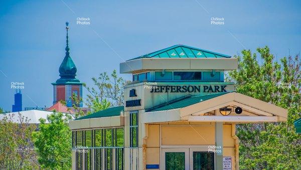 Jefferson Park Metra Station Platform With Chicago Skyline