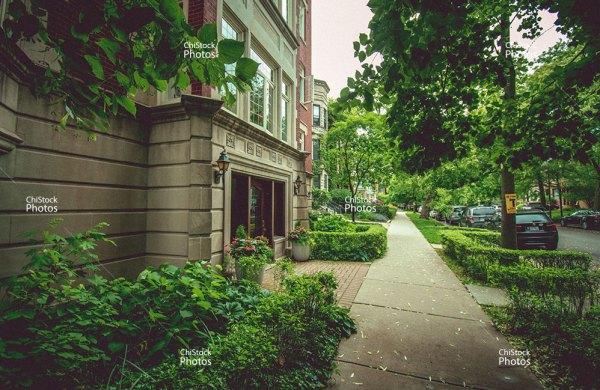 Hyde Park Apartments Side Street Sidewalk View