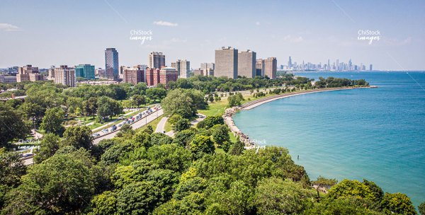 Aerial View Of Museum of Science and Industry Lake Shore Drive