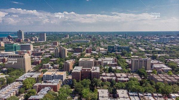 Aerial View Of Hyde Park Kenwood Neighborhoods Chicago