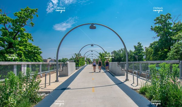 Runners On Bloomingdale Trail 606 Logan Square Chicago