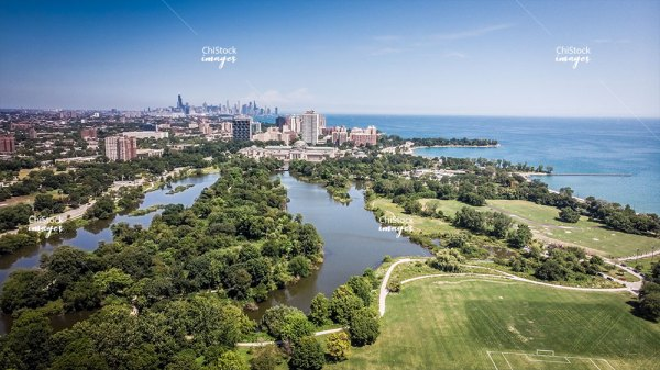 Aerial View Of Jackson Park Woodlawn Hyde Park and Downtown Chicago In The Background