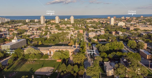 Aerial drone view of Illinois Institute of Technology and surrounding Douglas neighborhood Chicago