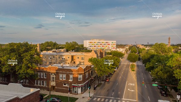 Aerial drone view above Irving Park Road