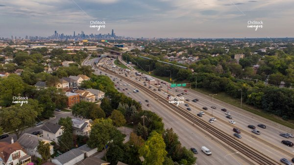 Aerial drone view of Irving Park neighborhood Chicago