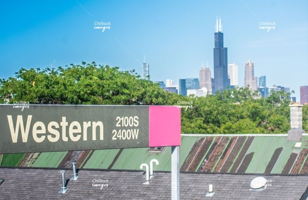 Western CTA Pink Line With Skyline in the Background Lower West Side, Chicago