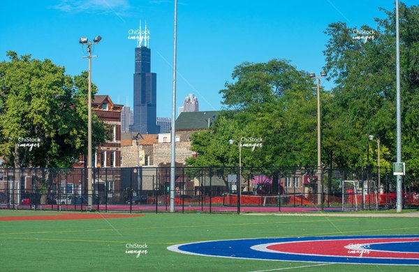 Harrison Park Lower West Side, With Sears Tower In Background