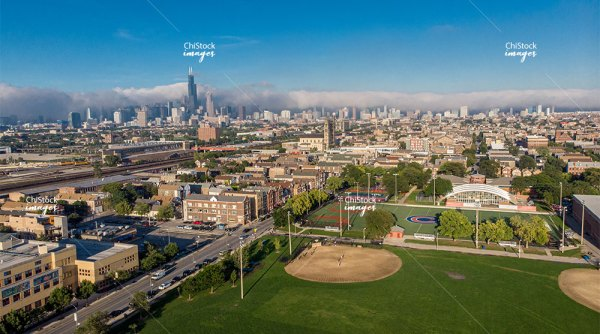 Aerial View of Pilsen Lower West Side Chicago