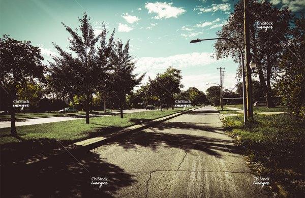 Commercial street in Auburn Gresham neighborhood of Chicago