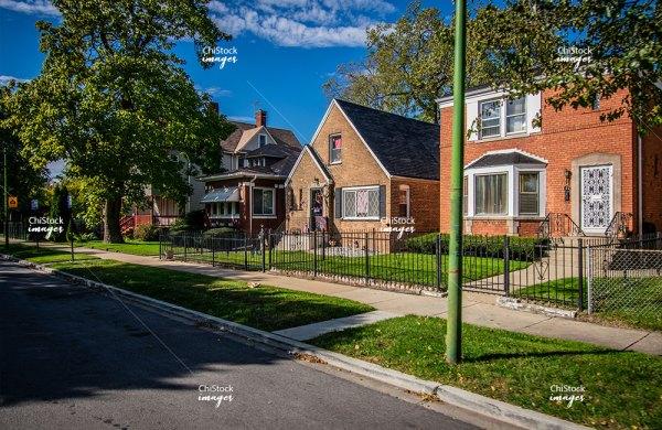 Residential homes on a side street in Auburn Gresham neighborhood of Chicago