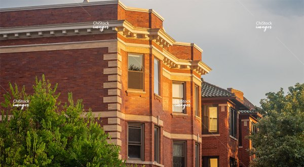 Courtyard Apartment Buildings in Logan Square Chicago