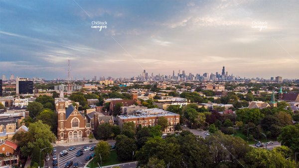 Aerial Drone View above Palmer Square Logan Square Chicago