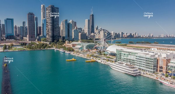 Aerial Drone View of Navy Pier Near North Side Chicago