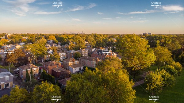 Aerial Drone View of Norwood Park Chicago