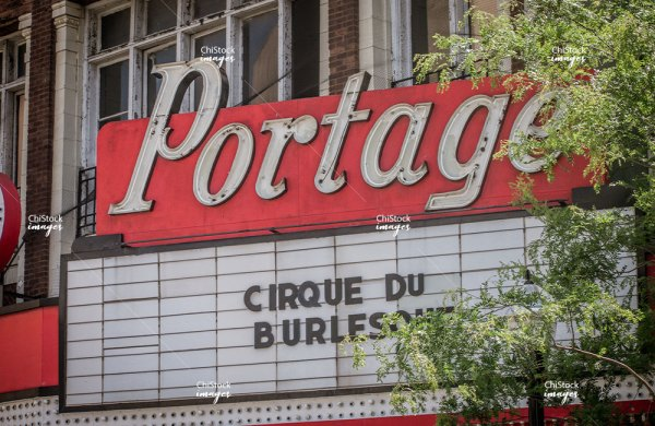 Closeup of the Portage Theater Sign Portage Park Chicago