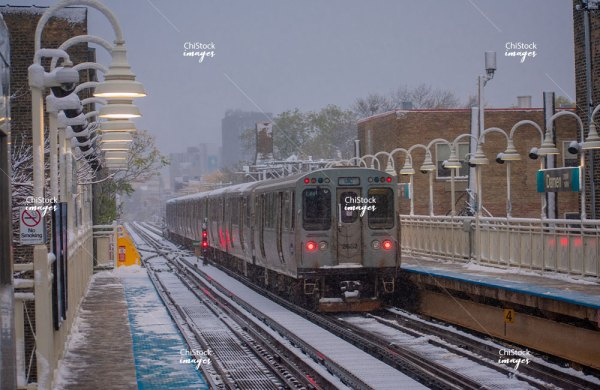 Blue Line CTA Station West Town Chicago