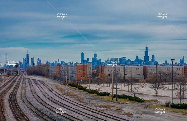 Metra Tracks in Belmont Cragin Chicago
