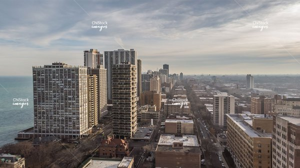 Aerial Drone View of Edgewater Chicago
