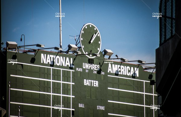 Wrigley Field Scoreboard from Waveland Ave Lake View Chicago