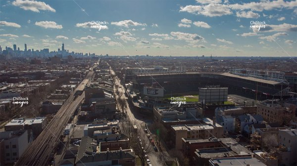 Aerial View of Wrigleyville CTA Wrigley Field Lake View Chicago