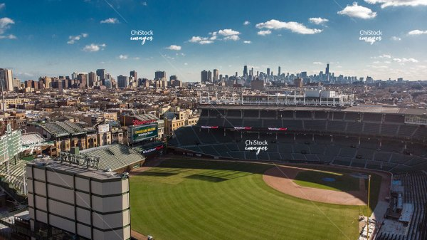 Aerial View of Wrigleyville Wrigley Field Lake View Chicago