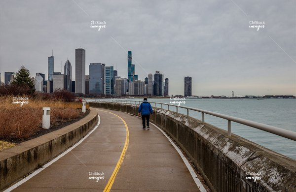 Lakefront Trail at the Shedd Aquarium Near South Side Chicago