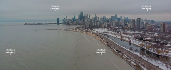 Aerial View of Diversey Harbor Lake View Chicago