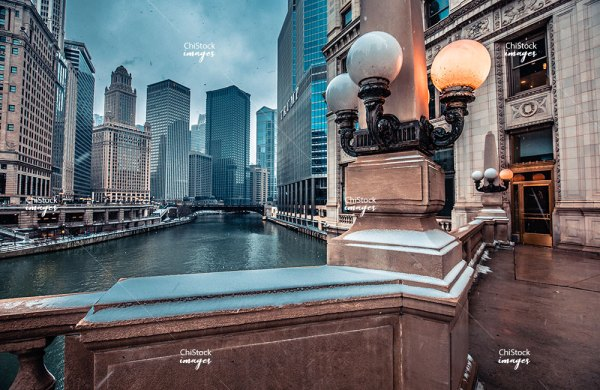 Chicago River At The Wrigley Building Near North Side